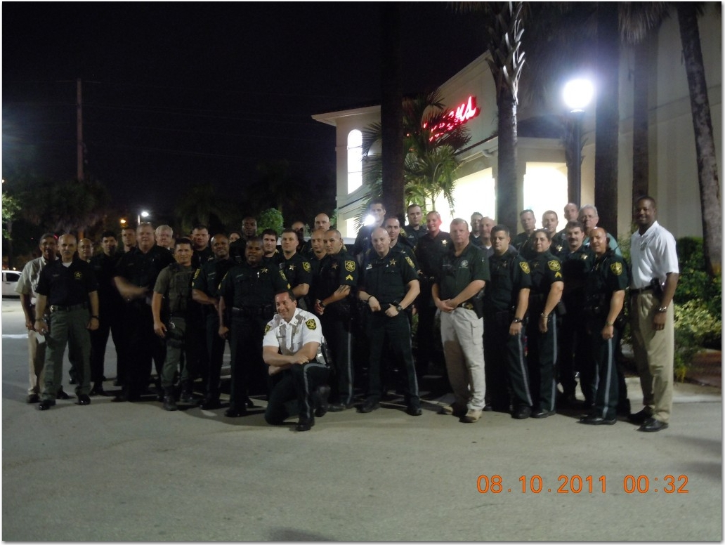 Members of the Broward Sheriff's Office including Sheriff Al Lamberti, Colonel Tim Gillette, Captain Wayne Adkins, Captain Grandville, PC Sgt Tim Irvin and about 40 others